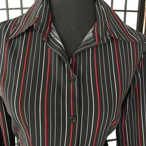 Striped Button Down Long Sleeve Blouse Size S